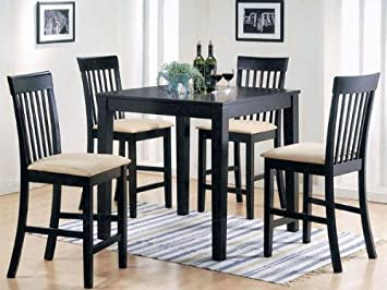 5 Pc Espresso Finish Wood Counter Height Small Dining Table Set
