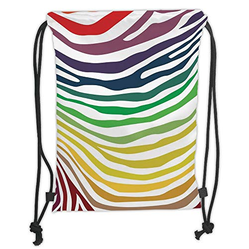 (New Fashion Gym Drawstring Backpacks Bags,Zebra Print,Colorful Zebra Stripes Pattern in Cheering Rainbow Color Modern Style Art Decorative,Red Yellow Green Soft Satin,Adjustable S)