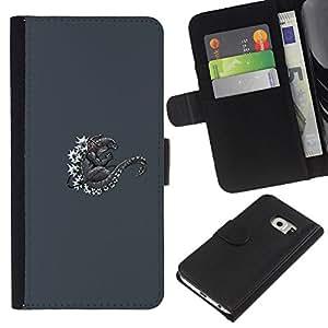 KingStore / Leather Etui en cuir / Samsung Galaxy S6 EDGE / Sea Monster japonesa Lagarto de la guirnalda de la margarita gris