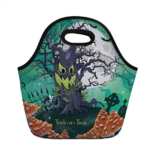 Lunch Bag Portable Bento,Halloween Decorations,Trick or Treat Dead Forest with Spooky Tree Graves Big Kids Cartoon Art,Multi,for Kids Adult Thermal Insulated Tote -