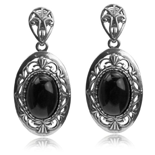 (Sterling Silver Imitation Black Onyx Filigree Oval Dangle)