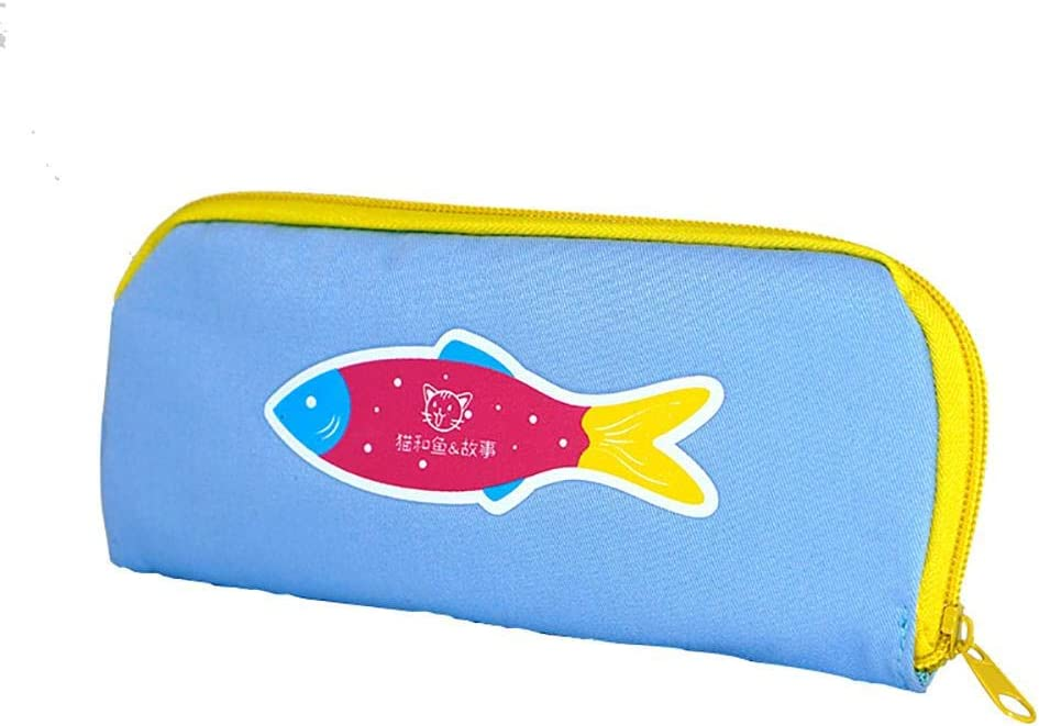 Kakoop - Estuche multifunción, diseño de pez pequeño, con doble cremallera, portátil, para niños y niñas, color rosa, color azul 20 * 2 * 9cm: Amazon.es: Oficina y papelería