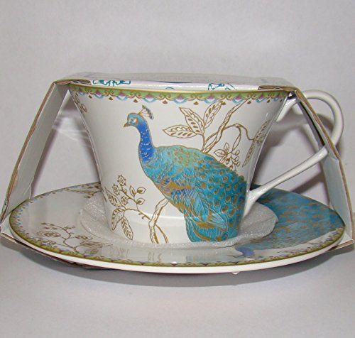 222 Fifth Peacock Garden Cup & Saucer For Coffee or Tea Fine China Tableware