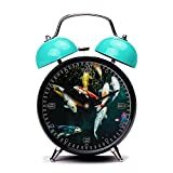 Blue Alarm Clock, Retro Portable Twin Bell Beside Alarm Clocks with Nightlight-005. heresyourpizza pets pet koi fish koifish