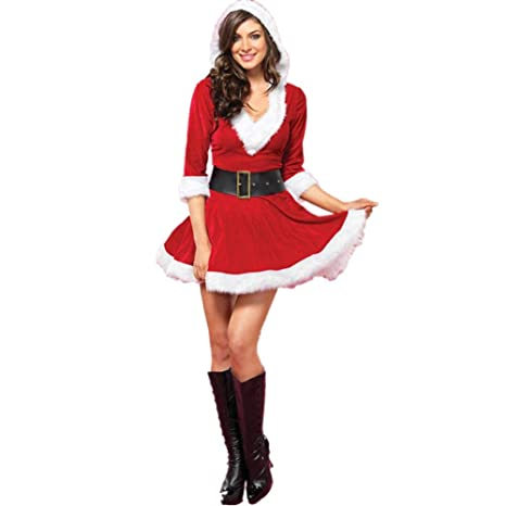 Mrs. Claus Costume Santa Baby Costume, Christmas Role Play Outfits Hooded Dress for Women, Sexy COS Performance Clothing Santa Claus Costume for Adult