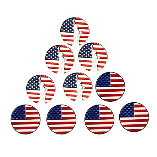PINMEI Lot of 10 Golf Ball Markers Assorted Patterns - Soft Enamel Technique (USA Flag and Statue of Liberty)