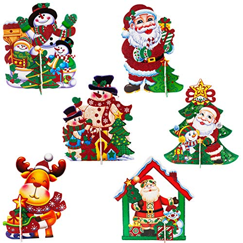 6PCS Christmas Tabletop Decoration Table Top Centerpiece Decor Santa Claus Snowman Reindeer Decorative Cardboard for Holiday Party Indoor Outdoor Fireplace Home Yard Favor -