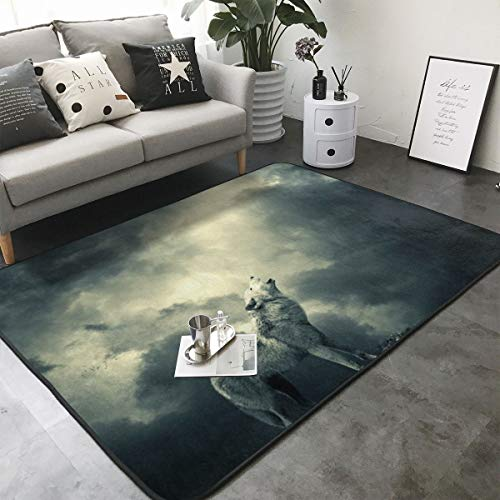 FANTASY SPACE Wolf Howling at The Moon Area Rug Memory Foam Doormat Floor Mat with Non-Slip Rubber Backing, Quick Dry Spa Bathroom Floor Mats Shaggy Rugs Home Art Comfort Shaggy Rugs