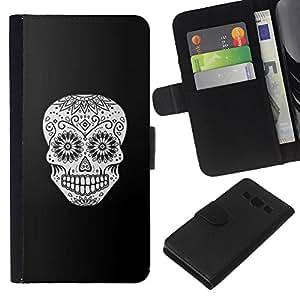 A-type (Cráneo Negro floral blanco Muerte de Halloween) Colorida Impresión Funda Cuero Monedero Caja Bolsa Cubierta Caja Piel Card Slots Para Samsung Galaxy A3