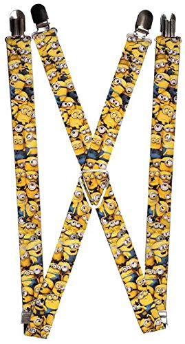 Buckle-Down Suspenders - Despicable Me Minions Stacked CLOSE-UP Accessory, -Multi-Colored, One - Minion Suspenders