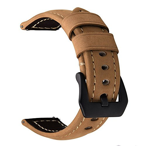 Price comparison product image Gear S3 Frontier / Classic Watch Band, VIGOSS 22mm Premium Vintage Crazy Horse Genuine Leather Strap Replacement Bracelet for Samsung Gear S3 Frontier and S3 Classic Smart Watch (Brown)