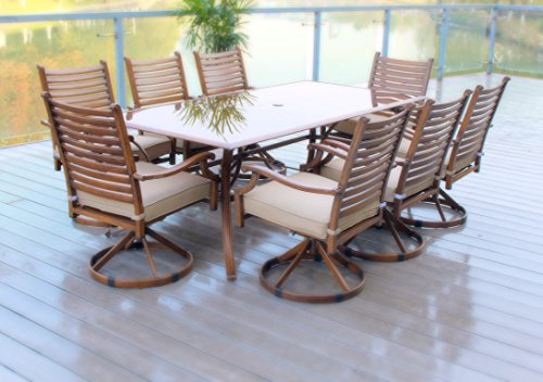 9pc Hand Painted Cast Aluminum Swivel Rocking Bahamma Breeze Patio Dining Set - Seats (Patio Hand Cast)
