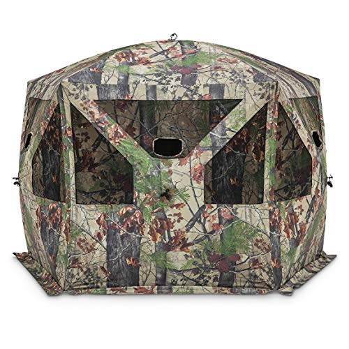 Barronett Pentagon Ground Hunting Blind, 4 Person Pop Up Portable, Backwoods Camo