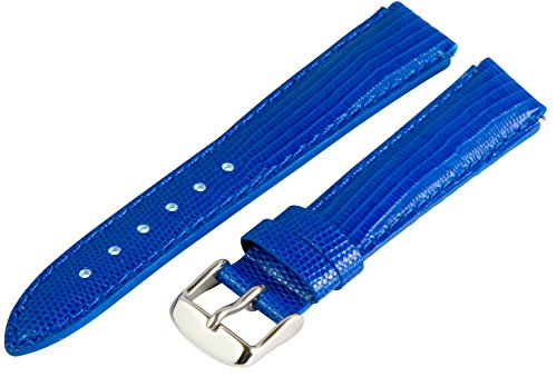 - 18mm x 15mm Leather Classic Lizard Blue Interchangeable Watch Band Strap Fits Philip Stein Small