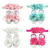 Wrapables Shabby Chic Flower Headband & Barefoot Sandals (4 Set), Pastel