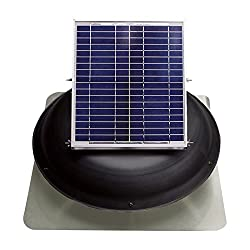 Ventamatic VX1000SOLDOMBLK Solar Roof Attic Vent with Dome-Mounted Panel, 18V