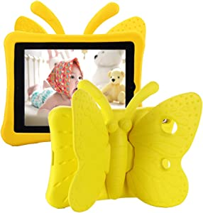 Tading iPad 10.2 Case 2020, iPad 7th Generation Case for Kids, Cute Butterfly Shockproof EVA Foam Super Protection Kid Proof Protective Stand Cover for iPad 10.2 Inch 2019 7th 2020 8th Gen - Yellow