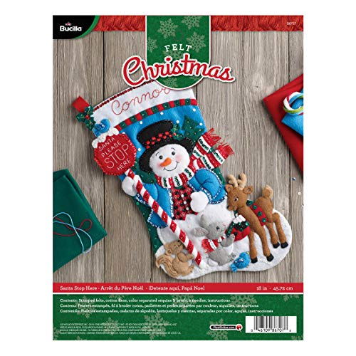 Easy Stocking - Bucilla Felt Applique Stocking Kit (18-Inch), 86707 Santa Stop Here
