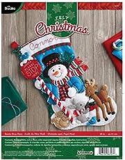 Bucilla Felt Applique Stocking Kit (18-Inch), 86707 Santa Stop Here