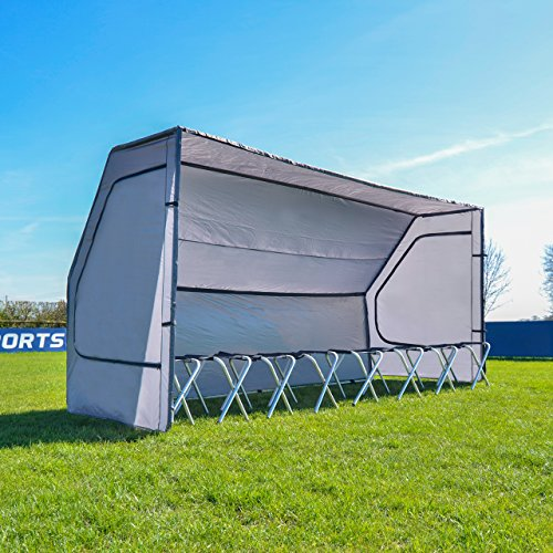- Net World Sports Portable Sports Team Shelter for Soccer/Baseball/Cricket (Optional 8 Seat Bench) -New for 2017 Temporary Shelter for Use in Minutes (Team Shelter Only)