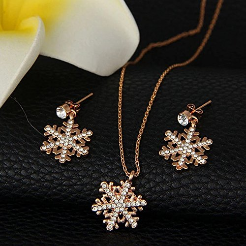 ROSE GOLD High Quality Super cute crystal jewelerys set girls fashion austrian rhinestone wedding Christmas gift party Snowflakes children earrings Necklaces (Party Shops Brighton)