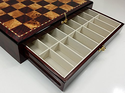 """Large 20"""" High Gloss Chess Storage Board Chest W/ 2 Drawers Cherry and Burl Wood Color B01310RJZE"""