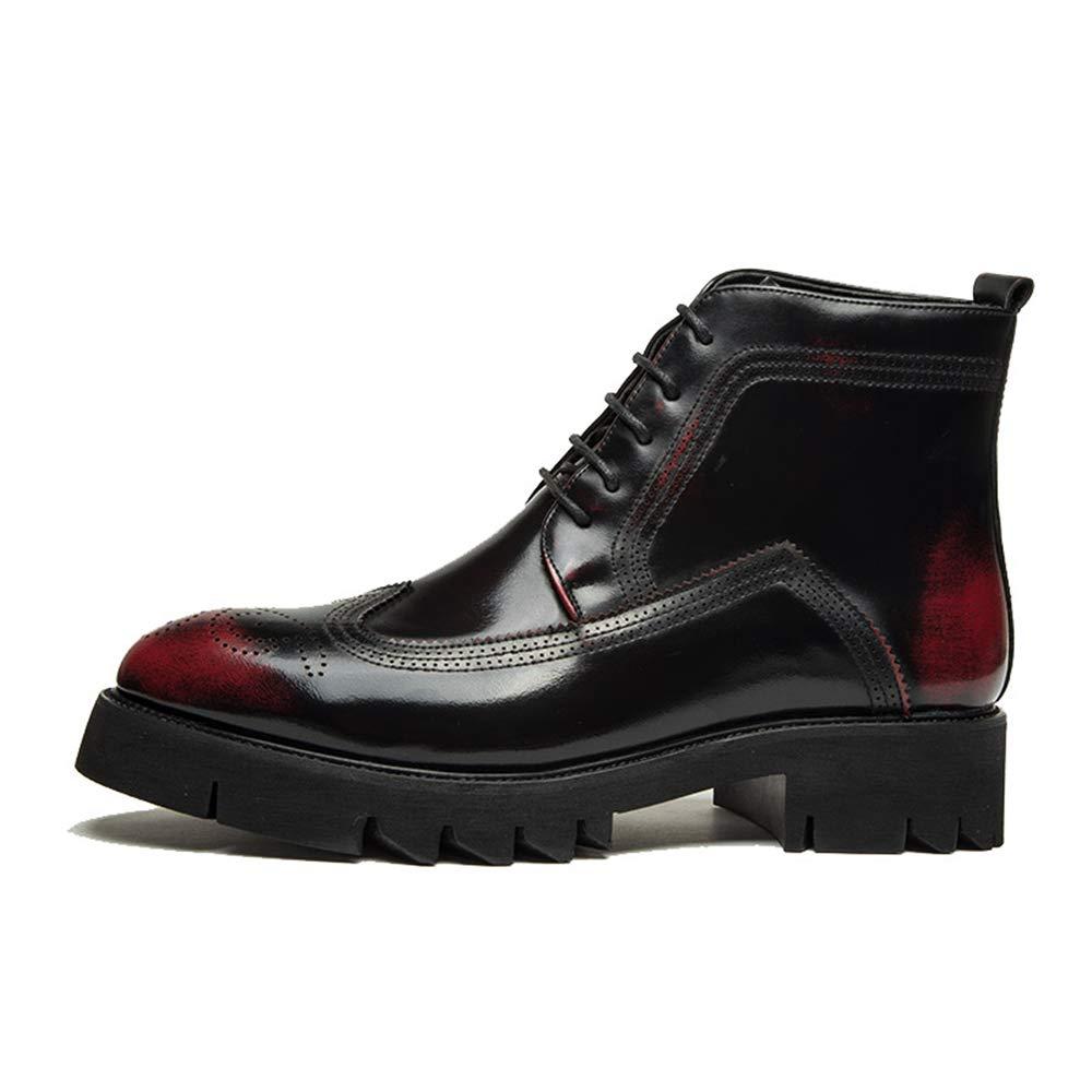 YAJIE-Stiefel, YAJIE-Stiefel, YAJIE-Stiefel, Herren High-Top Individuelle Schnürschuhe aus PU-Leder Mode Freizeit Stiefel Lässig (Farbe   Rot, Größe   40 EU) 84c6b6