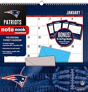 New England Patriots Schedule 2020.Amazon Com New England Patriots Notenook 2020 Calendar