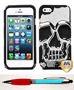 Accessory Factory(TM) Bundle (the item, 2in1 Stylus Point Pen) APPLE iPhone 5 Silver Plating Black Skullcap Hybrid Protector Cover