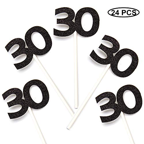 24 PCS 30th Cupcake Toppers - Anniversary or Birthday Cupcake Picks Party Decoration   Black 30th