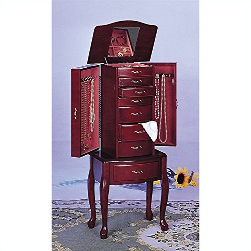 Salmon Deluxe Jewelry Armoire with Mirror