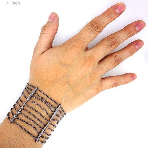 Multi Strand 925 Sterling Silver Bracelet Pave Natural Diamond Handmade Fine Jewelry