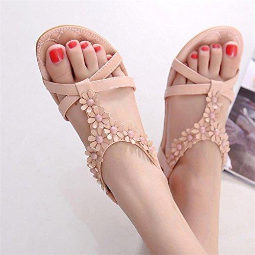 Sandalias planas de verano femenina estilo nacional open toe calzado de playa Rosa