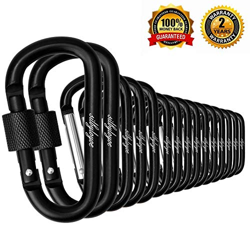 silbyloyoe Carabiner Clip, 15 Pack of Spring are not Easy to Loose and not Easy to Break,Keychain Carabiners,Aluminum Carabiner,D Shape Carabiner,caribeaners,for Outdoor Sports and Travel(Black)