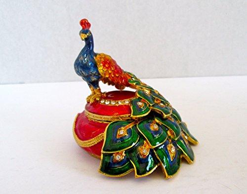 Bejeweled Peacock Bird Jewelry Trinket Box Figurine