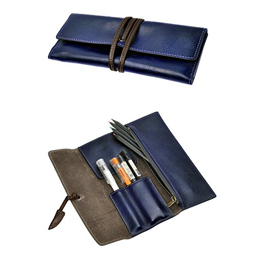 (ZLYC Handmade Leather Pen Case Pencil Holder Soft Roll Wrap Bag Pouch Stationery Gift (Blue2))