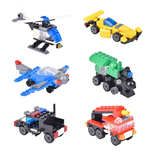 EsOfficce Egg Fillers Block, 6-Pack Easter Eggs Filled with City Traffic Vehicles Building Brick Block Set, Airplane, Helicopter, Train, Fire truck, Race Car & Construction Car, 3 Years +