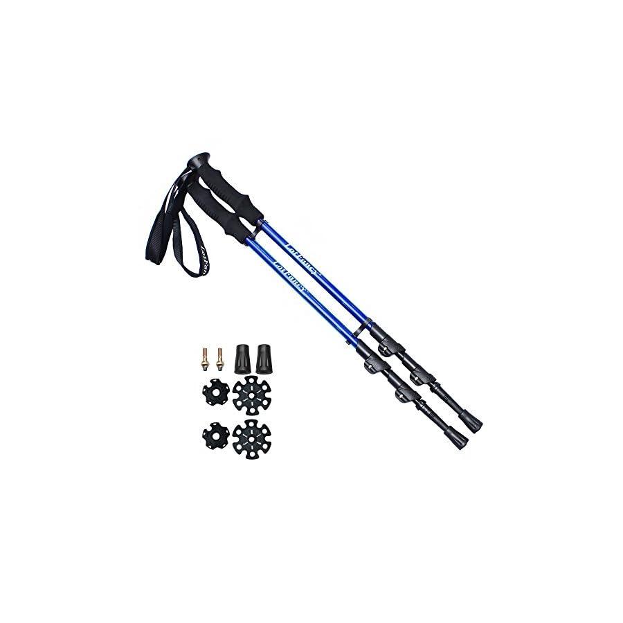 LotFancy Trekking Poles Ultralight Walking Hiking Sticks, Adjustable Trail Poles for Women Men, Extra Rubber Tips Baskets Included (1 Pair)