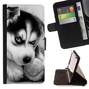 Devil Case- Estilo PU billetera de cuero del soporte del tir¨®n [solapa de cierre] Cubierta FOR Sony Xperia Z1 C6902 C6903 C6906- Huskies Husky Dog Paws Cute