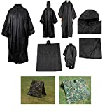 Ultimate Arms Gear Waterproof Rip Stop Black Military G.I. Style Poncho Tent Shelter