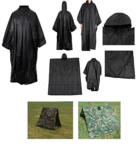 Waterproof Rip Stop Black Military G.I. Style Poncho Tent Shelter (Ripstop Nylon Poncho)