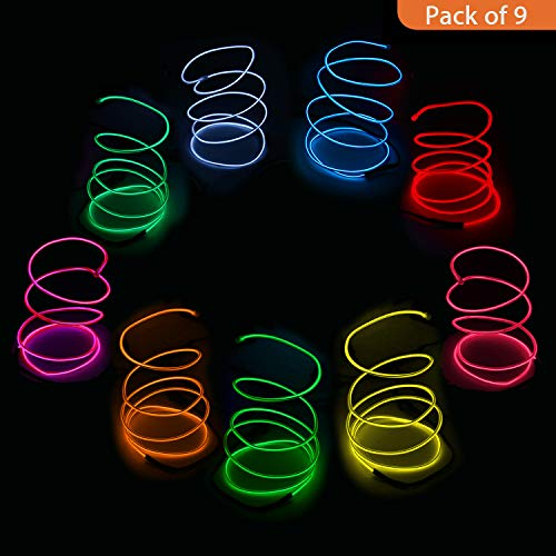Blazing Fun Shapable EL Wire, Neon Glowing Led Cable/EL Wire AA Battery Inverter Halloween Christmas Party DIY Decoration, 9X15ft(Colours)