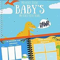 Dinosaur T-Rex Edition El primer libro de recuerdos de cinco años del bebé con pegatinas - Newborn Hard Cover Journal - Bebés Recuerdos personalizados Recuerdo - Bebé 5 años Hito Album de fotos
