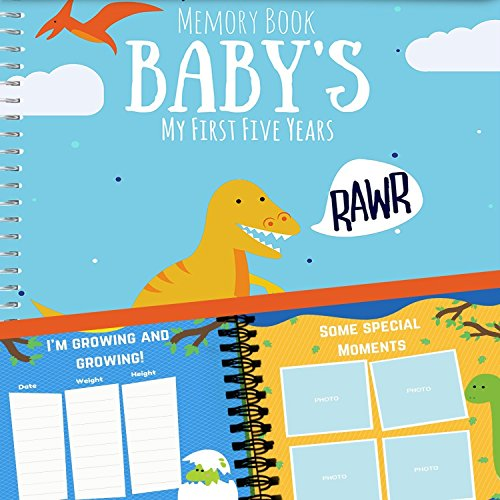 (Dinosaur T-Rex Edition Baby's First Five Years Memory Book With Stickers - Newborn Hard Cover Journal - Babies Personalized Keepsake Scrapbook - Baby 5 Years Milestone Photo)
