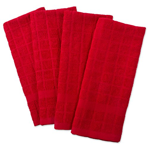 (DII Cotton Terry Windowpane Dish Towels, 16 x 26