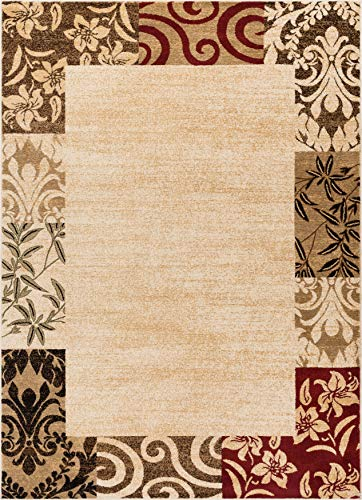 Well Woven Verdant Vines Beige Modern Damask Border Rug 7x10 (6'7