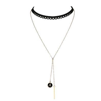 Amazon Com Cozylife Letter Gold Bar Pendant Women Girls Black Lace
