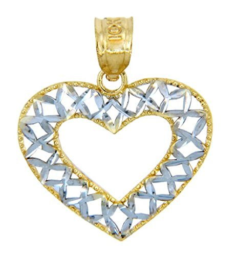 14k Two-Tone Gold Open Weave Heart Pendant