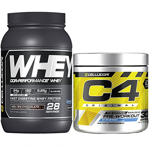 Cellucor C4 Original Pre Workout Powder, Blue Raspberry, 30 Servings + Cellucor Cor-Performance Whey Protein, Molten Chocolate, 2lbs