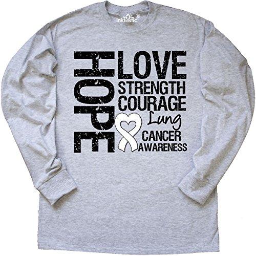 inktastic - Lung Cancer Hope Love Long Sleeve T-Shirt Medium Ash Grey - (Love Ash Grey T-shirt)